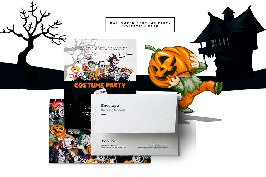 Halloween Costume Party Invitation Card (PSD)