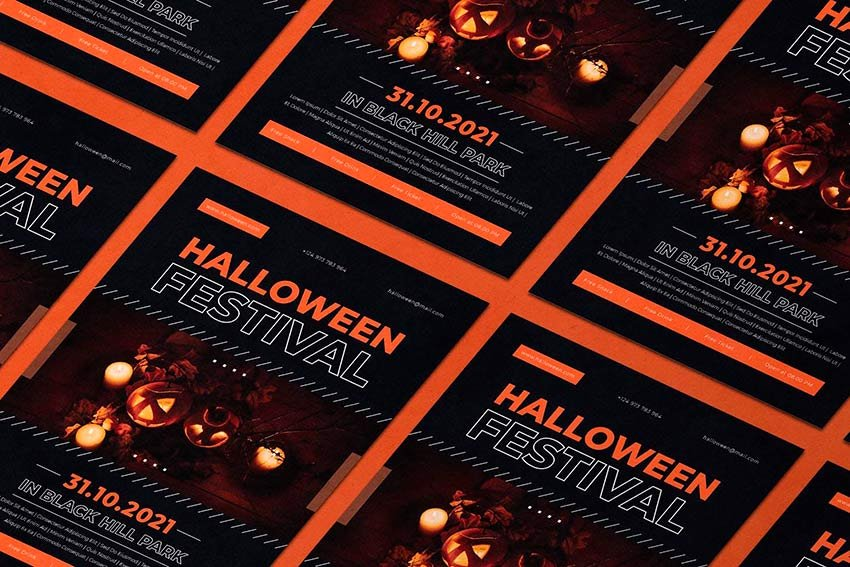 Use this cool Halloween party flyer template for your event!