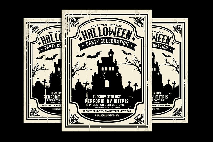 Monochrome Halloween Invitation Template (PSD)