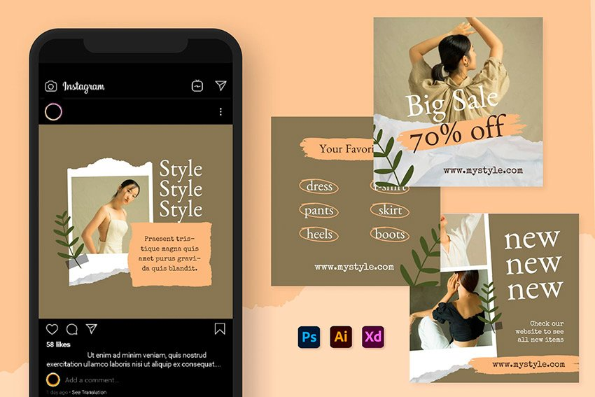 Instagram Collage Template Photoshop (PSD, AI, XD)