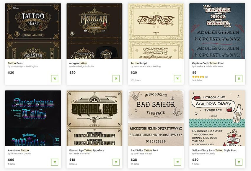 Buy tattoo lettering fonts one at a time from GraphicRiver.