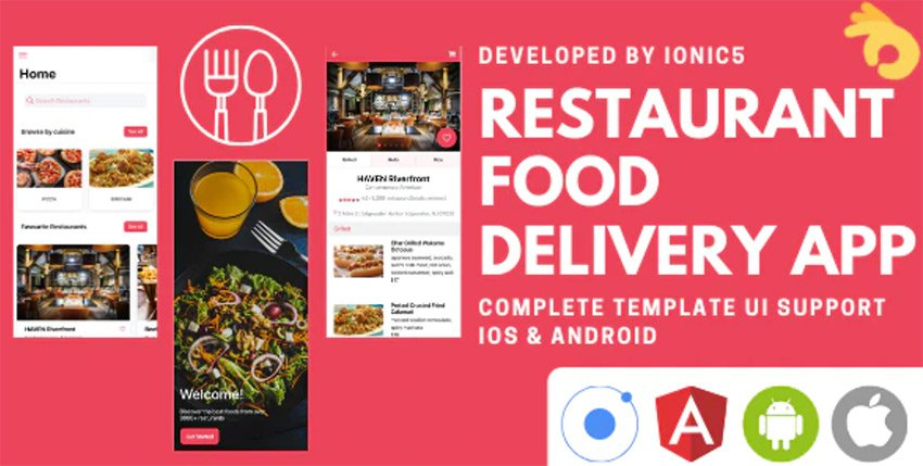 Restaurant and Food Delivery eCommerce App Ionic 5