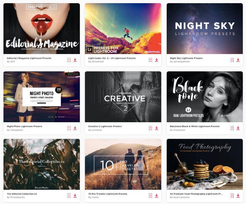 Enjoy unlimited downloads of the best Lightroom presets from Envato Elements