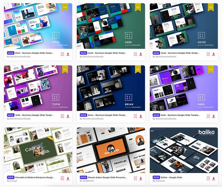 All of these Google Slides Templates are available with your Envato Elements subscription.