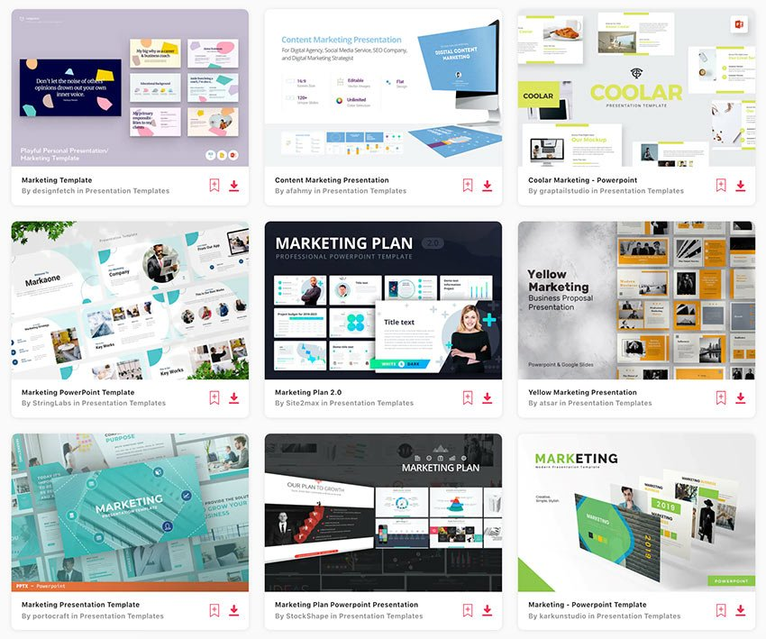Enjoy unlimited access to thousands of marketing PowerPoint templates from Envato Elements.