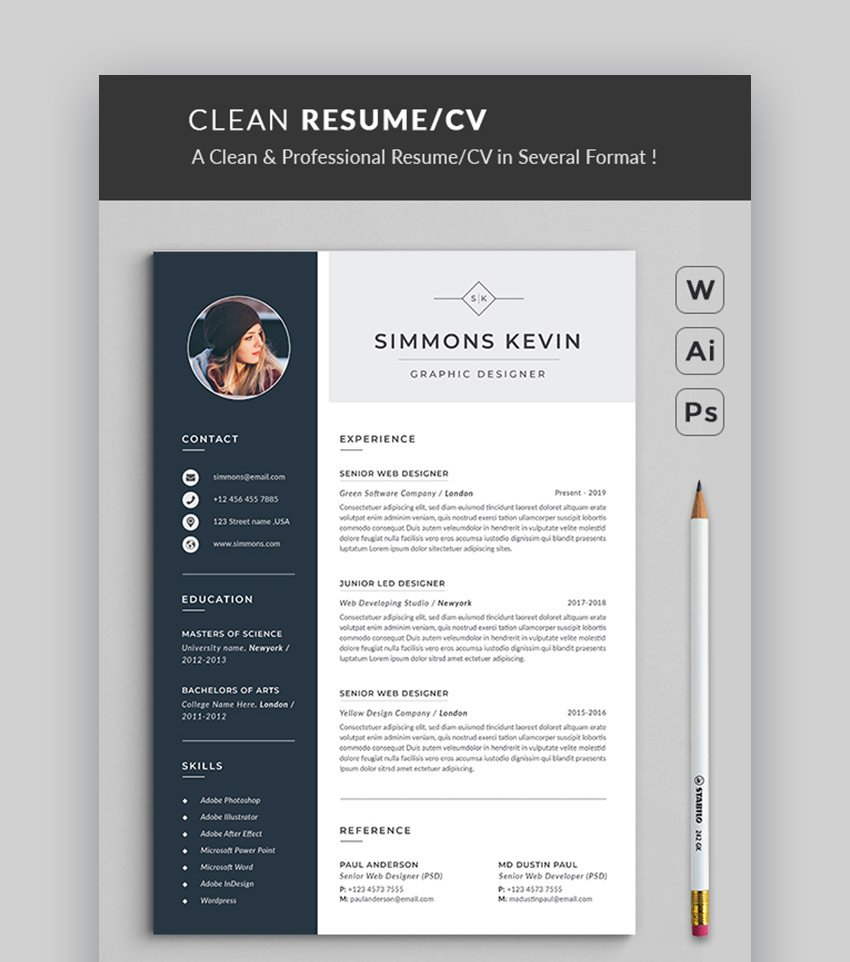 Modern Resume Templates W/ Clean (Elegant) CV Designs (15)