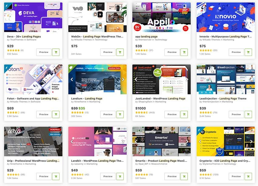 Get professional ThemeForest one page WordPress landing pages in 2021.