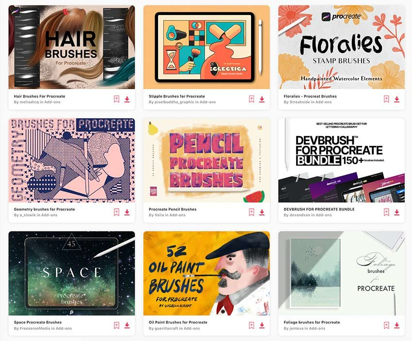 Enjoy unlimited Procreate brushes downloads from Envato Elements.