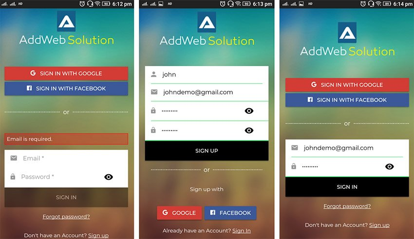 Firebase Social Login - Free Ionic Mobile App Template