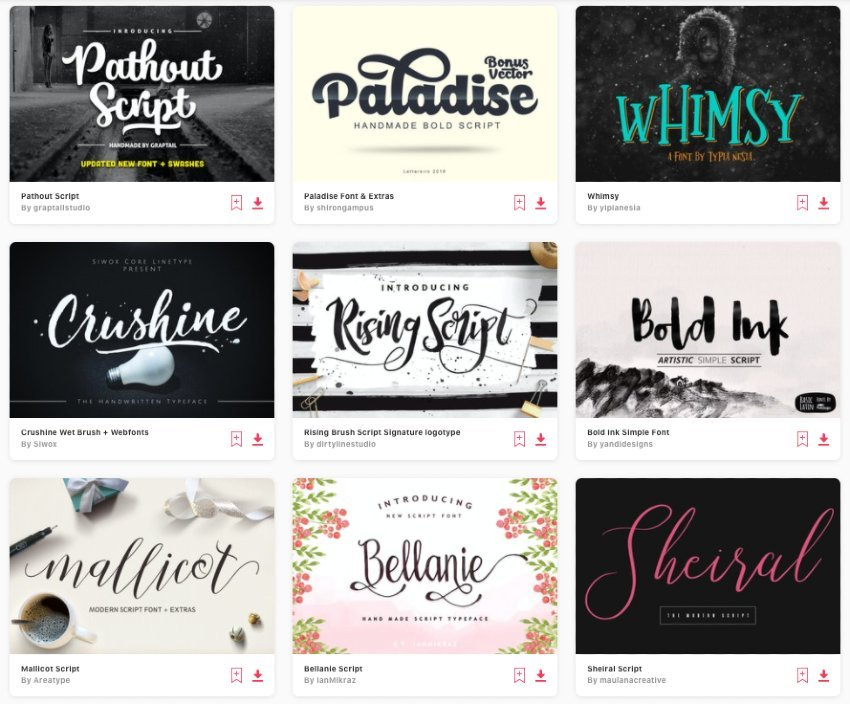 Enjoy unlimited downloads of script fonts from Envato Elements