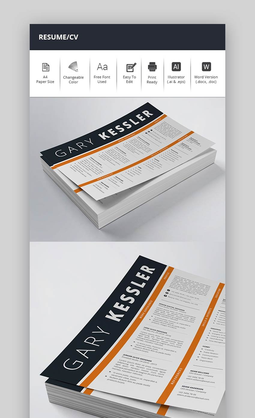 Bold Single Page Resume Template