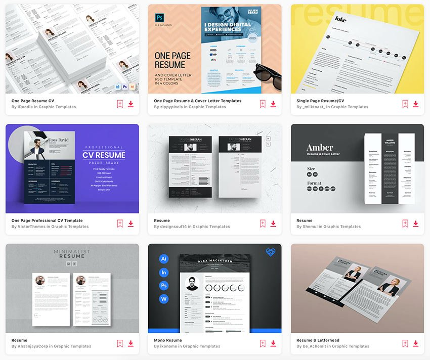 Get unlimited one page resume templates with a subscription to Envato Elements.