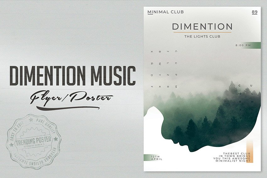 Get this cool Photoshop music poster template from Envato Elements.