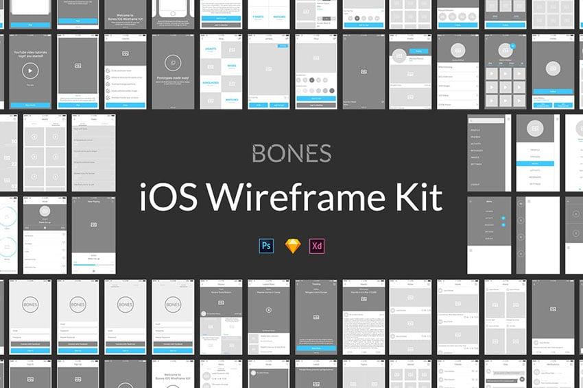 Bones iOS Wireframe Kit