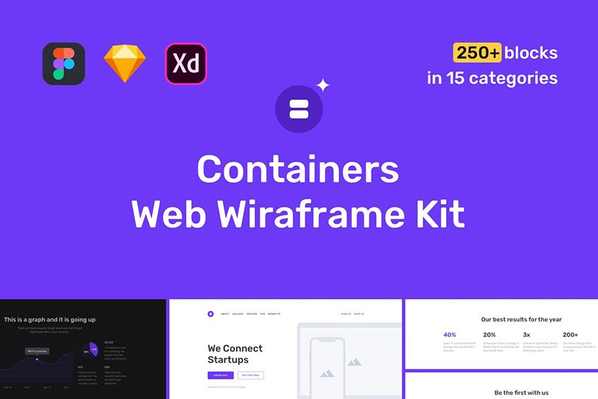 Containers Website Wireframe Template Kit