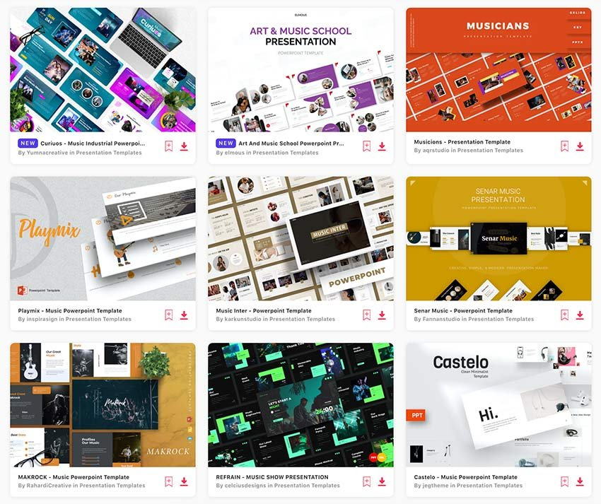 You can find loads of awesome music PPT templates on Envato Elements.