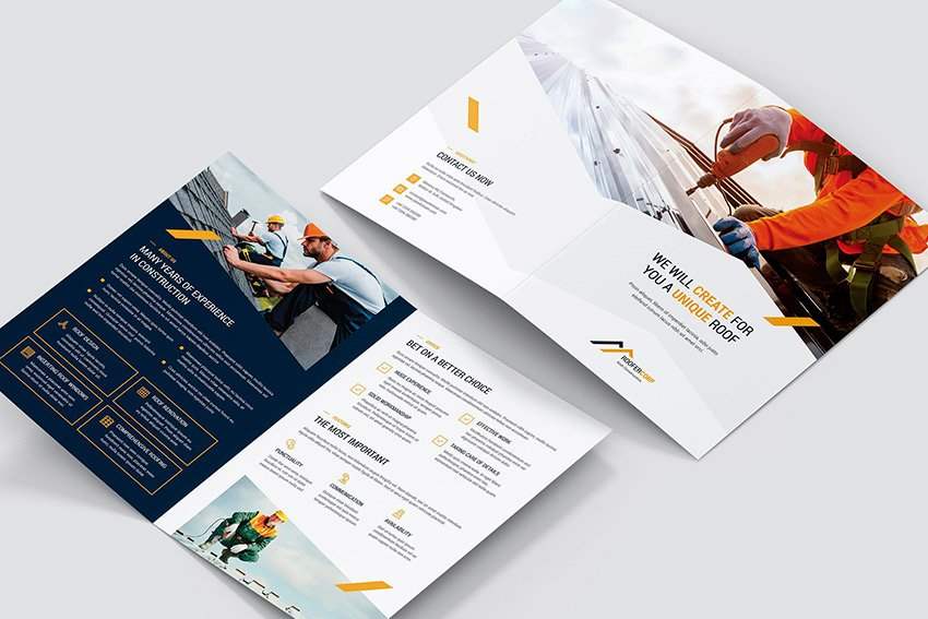 Roofer - Bifold Brochure Template (PSD, INDD)