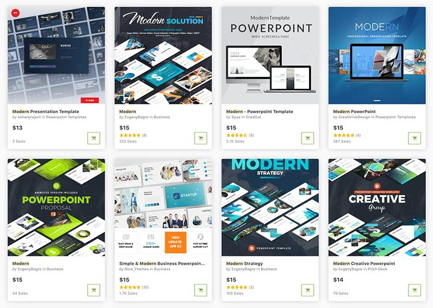 Get modern PowerPoints one at a time from GraphicRiver.