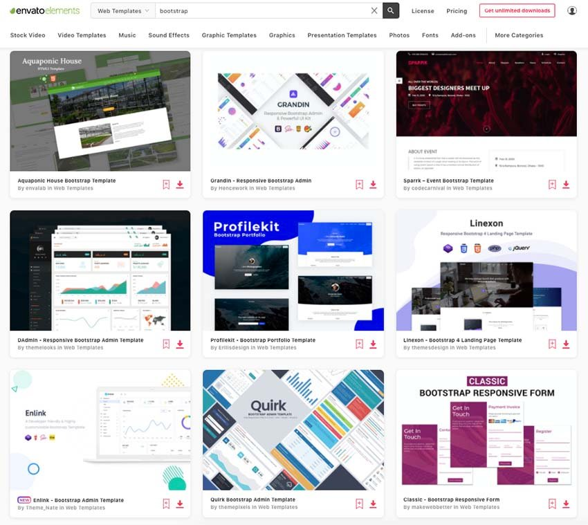 Enjoy unlimited downloads of Bootstrap website templates in Envato Elements