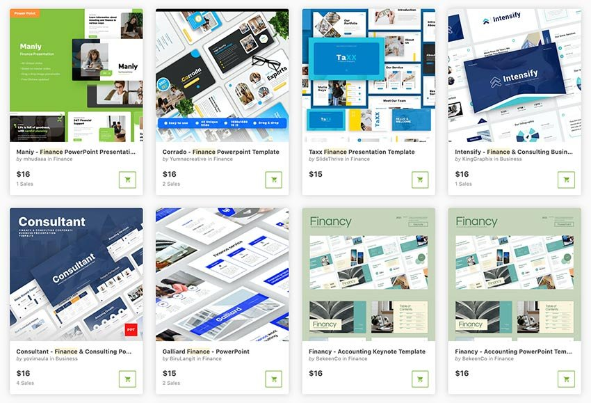 Get professional financial PowerPoint templates one at a time from GraphicRiver.