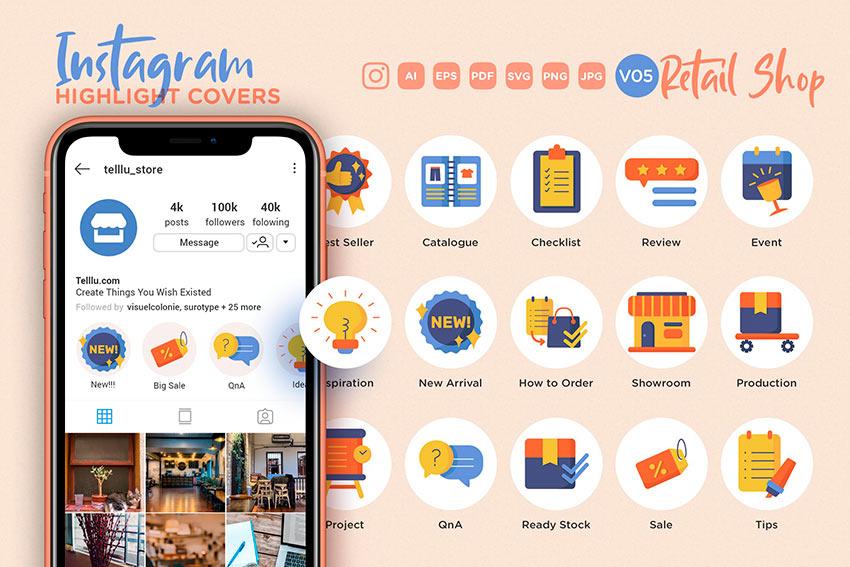 Online Shop Instagram Highlight Icons (AI, EPS, JPG, PDF, PNG, SVG)