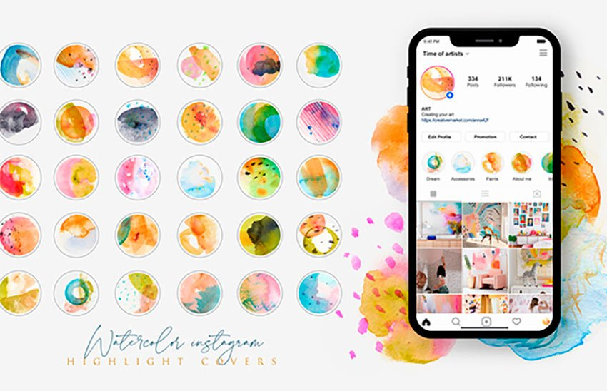 Watercolor Instagram Highlight Cover Templates (JPG)
