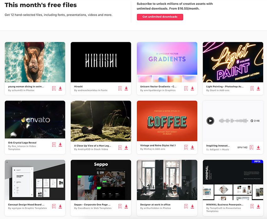 Here are the Envato creative elements you can get for free this month.