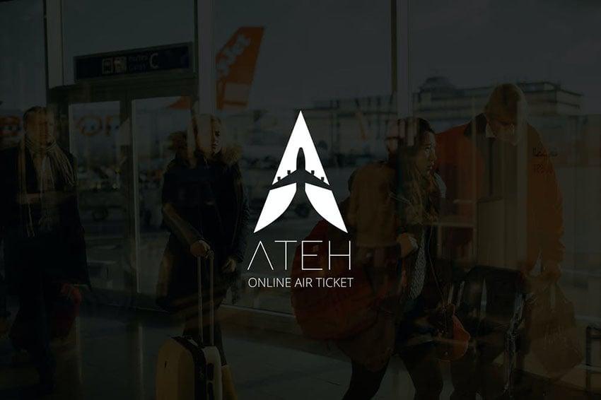 Ateh Negative Space Plane Logo