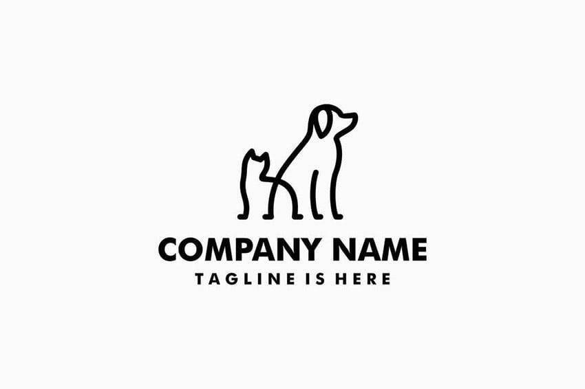 Dog Cat Pet Monoline Logo