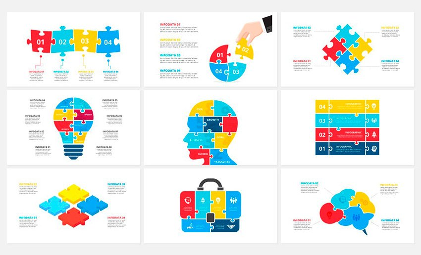 Check out the white space on this jigsaw PowerPoint template.