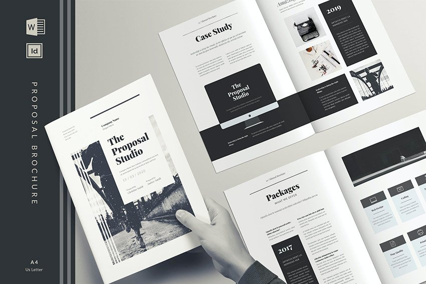 Monochrome Brochure Design (INDD, DOCX)