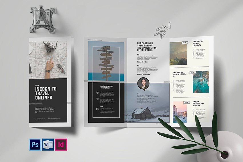 Trifold Travel Brochure Template (INDD, PSD, DOCX)