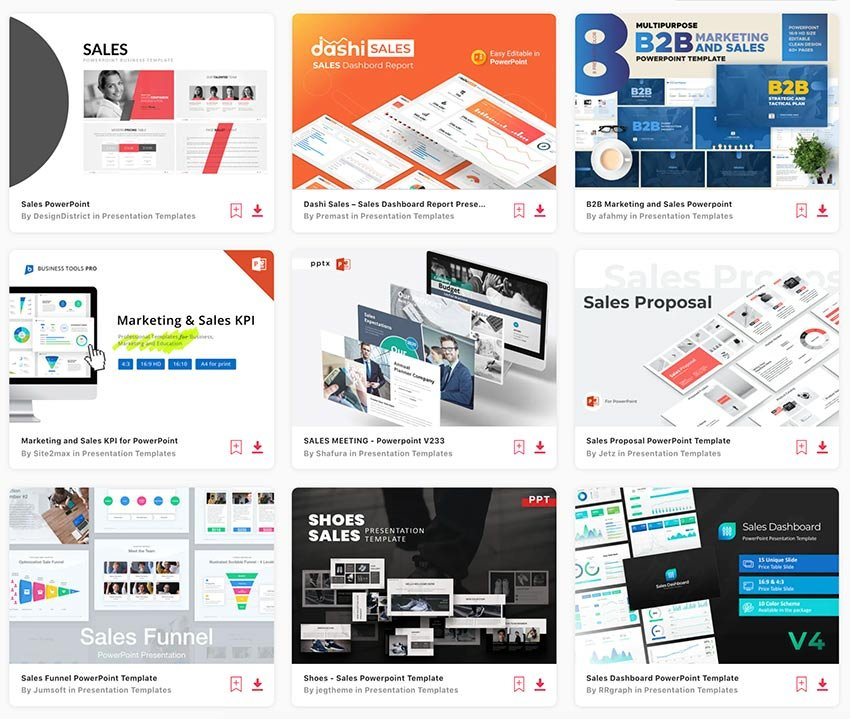 Download hundreds of sales presentation templates from Envato Elements.