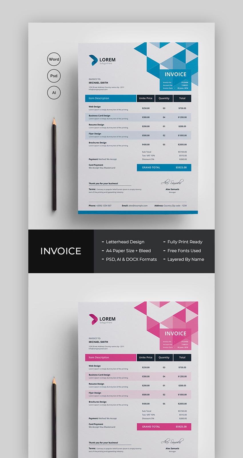 Invoice MS Word templates