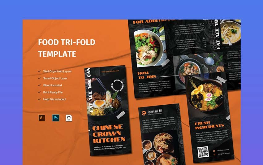 Trifold Food Brochure Template