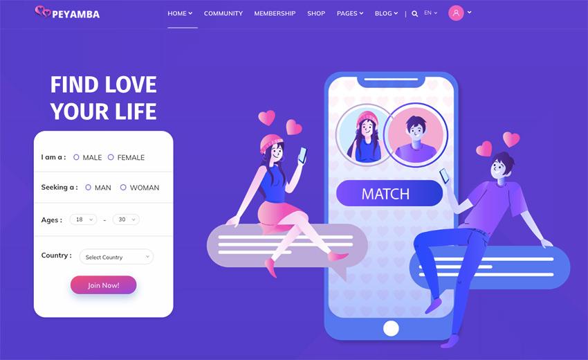 Peyamba - Dating Site HTML Template