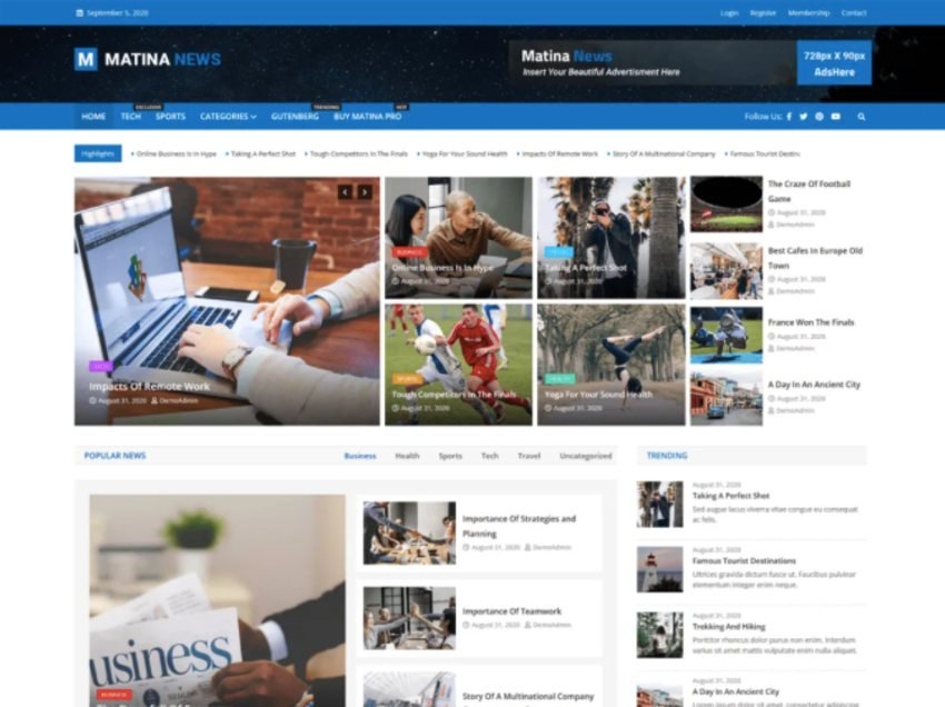 Matina News Free WordPress News Theme