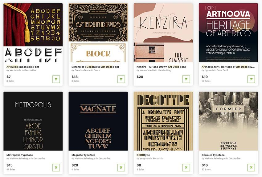 Buy art deco font styles one a at a time from GraphicRiver.