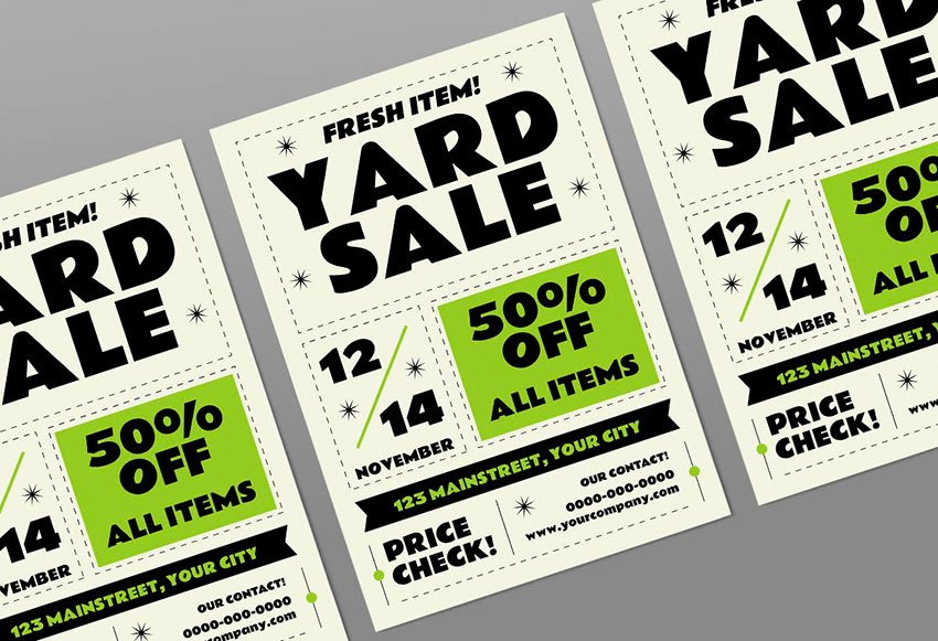 Are you having a yard sale? Use this Classic Yard Sale Flyer Template to invite everyone!