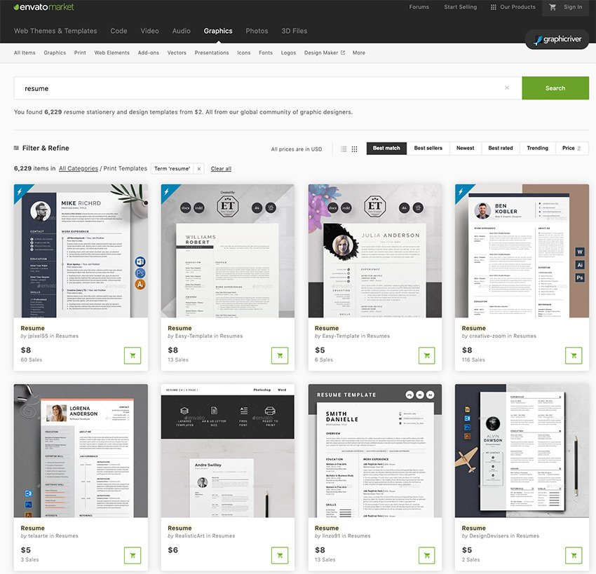 Beautiful resume options in GraphicRiver