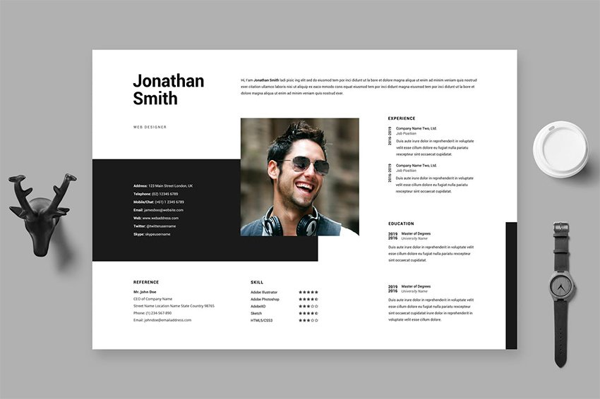 Adobe Illustrator CV Template Horizontal