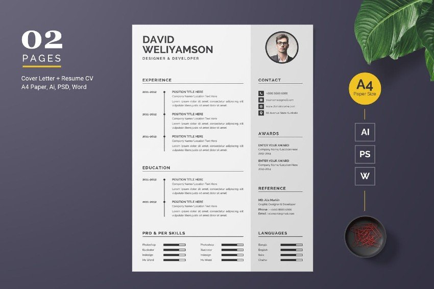 Word resume template with white spaces