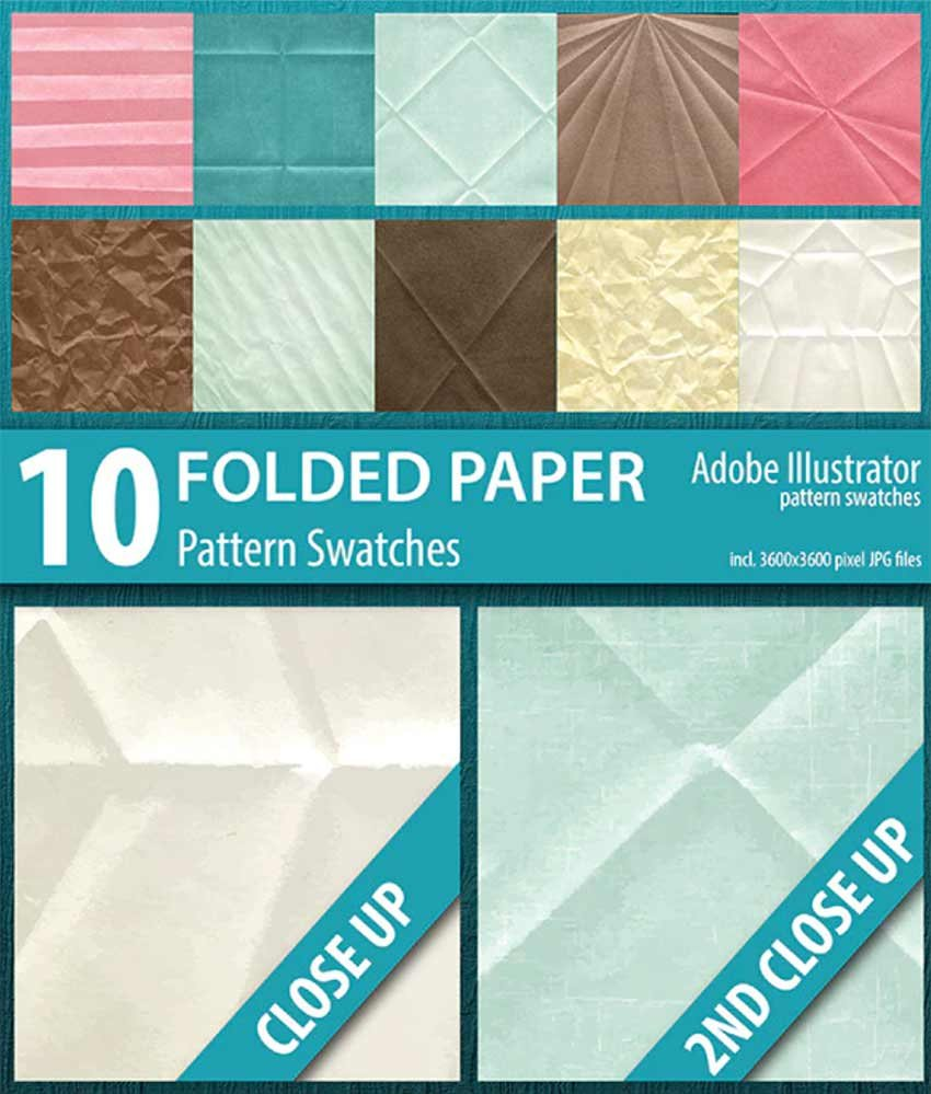 Folded Paper Texture Illustrator Swatches (AI, JPG)