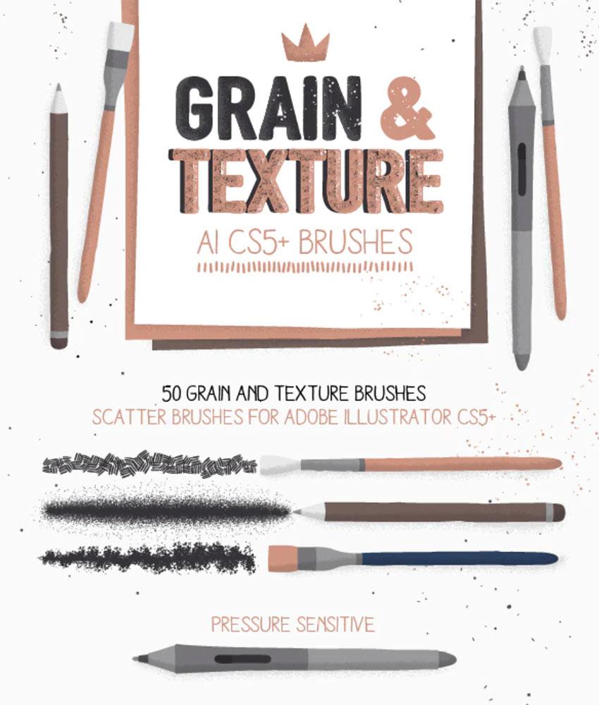 Grain Texture Illustrator Brushes (EPS, AI)