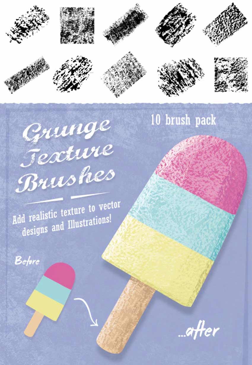 Grunge Texture Illustrator Brush Pack (EPS)