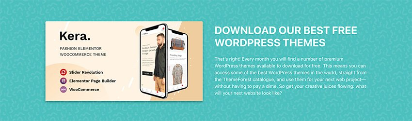 Check out this month's free WordPress themes from ThemeForest.
