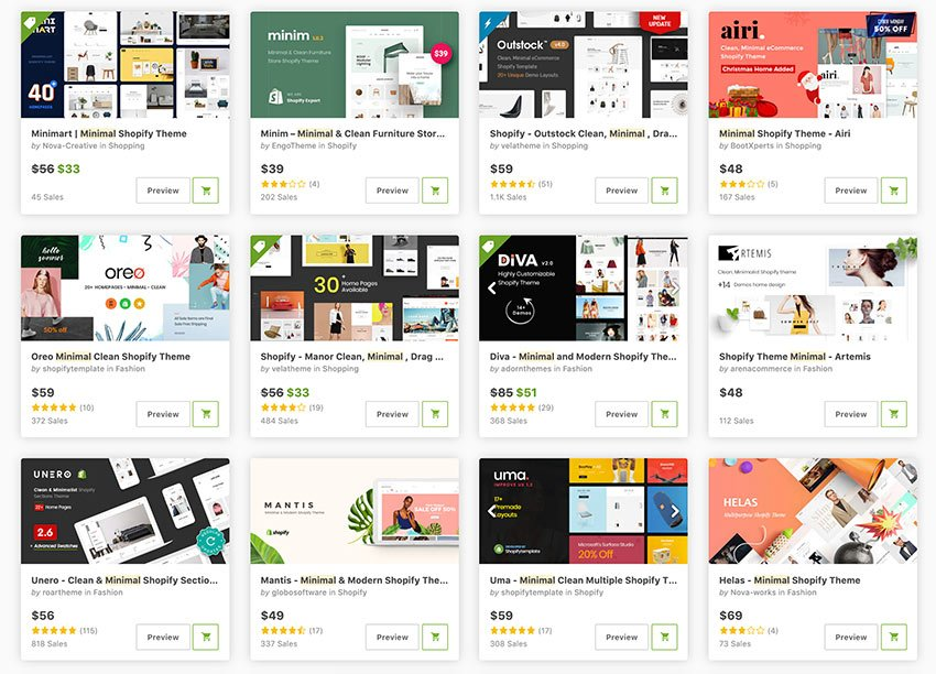 Buy the best minimal Shopify themes from ThemeForest.