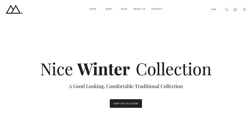 This is a good example of a minimalist Shopify store.