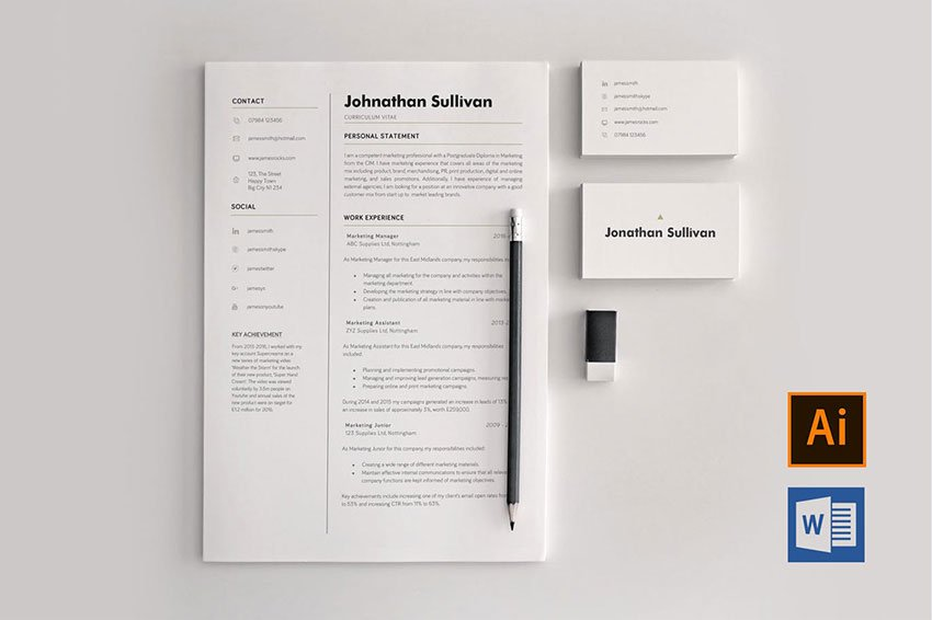 Word CV and Business Card - Personal ID