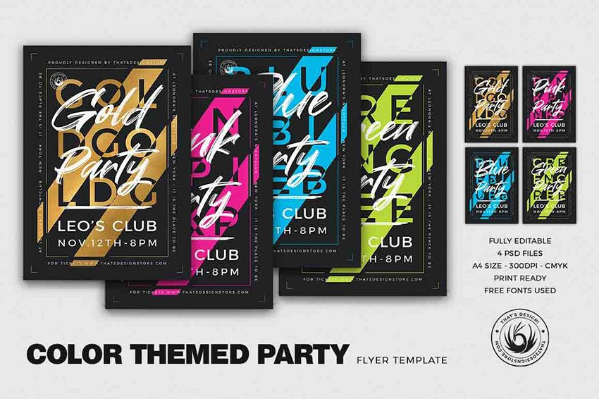 Color Themed Party Flyer Template